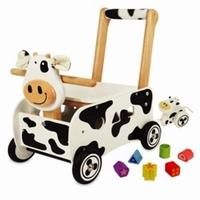 houten speelgoed blokken duw kar koe